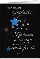 Graduation Guy, Young Man Star Congratulations, Blue and Black card