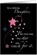 Daughter, Graduation Star Congratulations, Pink, Black card