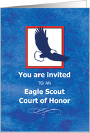 Invitation Eagle Scout Court of Honor Ceremony, Eagle on Blue card