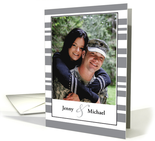 Congratulations Photo Engagement, Gray Stripes card (1205562)