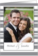 Invitation for Engagement Party Customize Photo, Names, Gray Stripes card