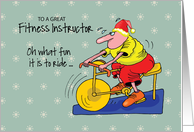 To Fitness Instructor Spinning Bike Exercising Humorous Christmas card
