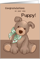 New Puppy Congratulations, Dog with Green Ribbon card