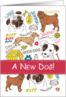 Congratulations on New Dog, Cute Drawings of Mixed Breeds card