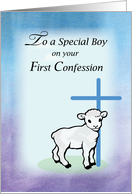 Boy First Confession, Lamb, Cross card