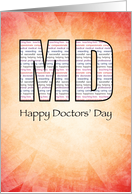 MD Happy Doctors' Day with Red and Yellow Background card