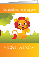 Baby's First Steps, Congratulations on Walking, Cute Lion card