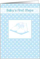Baby Boy's First Steps, Blue Shoes, Polka Dots card