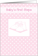 Baby Girl's First Steps Congratulations with Pink Shoes card