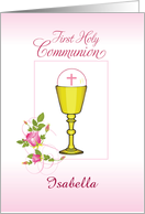 Personalize Girl Name, Isabella, Pink First Holy Communion card