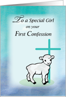 Girl First Confession, Lamb, Cross card