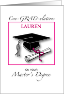 Custom Name Master's Degree, Girl Graduation Pink card