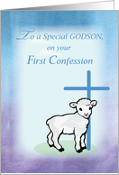 Godson First Confession, Lamb, Cross card