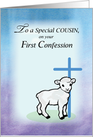 Cousin First Confession, Lamb, Cross card