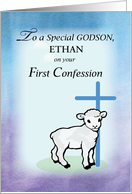 Customizable Godson, Ethan, First Confession, Lamb, Cross card