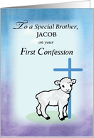Brother, Customizable for Name Jacob, First Confession Congratulations card