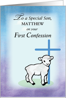 Son Personalizable, Matthew, First Confession, Lamb, Cross card