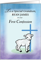 Personalize Grandson, Ryan First Confession, Lamb, card