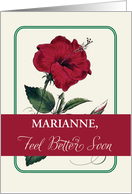 Customize for Any Personalized Name Marianne, Feel Better, Flower card
