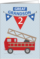 2nd Birthday Great Grandson, Firetruck card