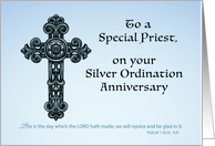 Priest Silver, 25th Ordination Anniversary, Ornate Cross card