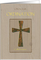 General Ordination Congratulations, Metal Cross on Wood card