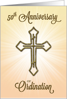 50th Anniversary of Ordination, Gold Cross on Starburst card