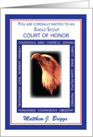Custom Name Invitation Eagle Scout Court of Honor Red, White, Blue Vir card
