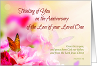 Anniversary of Loss of Loved One's Death, Religious, Butterflies, Pink card