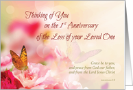 First, 1st Anniversary of Loss of Loved One, Religious, Butterfly card