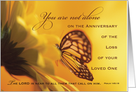 Anniversary Death of Loved One Butterfly, Religious Golden Yellow Flow card