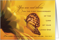 1st, First Anniversary Death of Loved One Butterfly, Religious Golden card