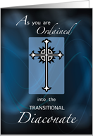 Ordination to Transitional Diaconate Cross, on Blue, Congratulations card