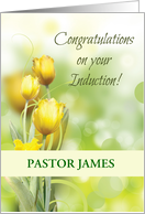 Induction of Baptist Minister Congratulations, Custom, Yellow Flowers card