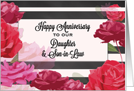 Daughter and Son-in-Law Wedding Anniversary Roses, Stripes card
