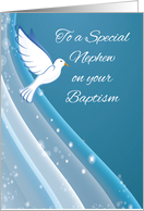 Nephew Baptism, Dove on Blue Waters card