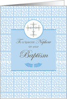 Nephew Baptism Blue with Lace and Cross card