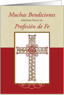 Spanish RCIA Blessings on Profession of Faith Catholic, Cross on Red card