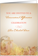 Consecration/Affirmation Celebration invitation with Cross on Brown/Go card