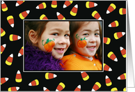 Halloween Candy Corn Custom Photo Card, Personalize card