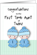 First Time Aunt of Two Twin Boy Nephews, Congratulations, Blue card