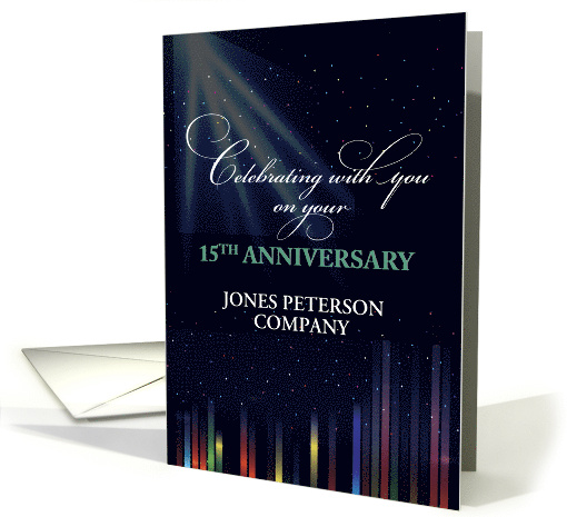 15th Employee Anniversary Sky, Black Congratulate Thank You card