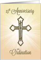 15th Anniversary of Ordination, Gold Cross on Starburst card
