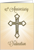 45th Anniversary of Ordination, Gold Cross on Starburst card