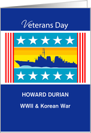 Custom Personalized Veterans Day Navy Ship, Patriotic card