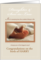 Daughter, Son-in-Law Custom Name Congratulations, Baby Feet card