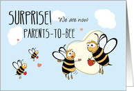 New Baby Pregnancy Expecting Announcement, 3rd Baby, Bee card