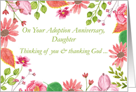 Daughter Adoption Anniversary Watercolor Flowers Religious card