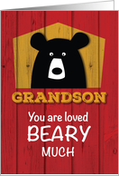 Grandson, Valentine Bear Wishes on Red Wood Grain Look card