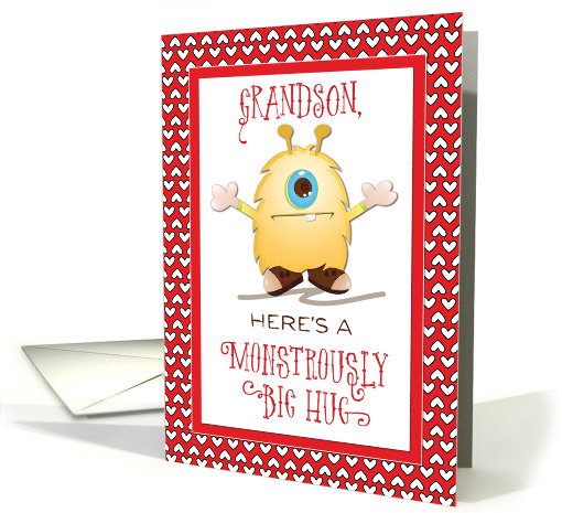 Grandson Cute Monster Hug Valentine Red Hearts card (1421736)
